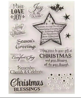 Christmas Sentiments/words Clear Stamps-xmas Stamp-stars/holly/card Making-craft • 5.50£