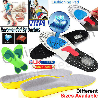 Orthotic Insoles For Arch Support Plantar Fasciitis Flat Feet Back & Heel Pain. • 2.85£