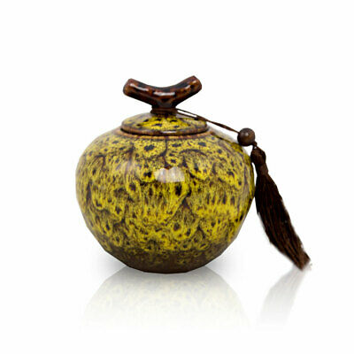 $24.95 • Buy Branch Ceramic Cremation Urn For Ashes - Extra Small Autumn Yellow