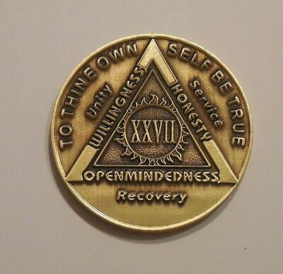 $3.80 • Buy Aa Bronze Alcoholics Anonymous 27 Year Sobriety Chip Coin Token Medallion
