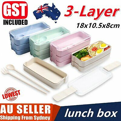 AU13.69 • Buy 3-Layer Bento Box Students Lunch Box Eco-Friendly Leakproof 900ml Food Container