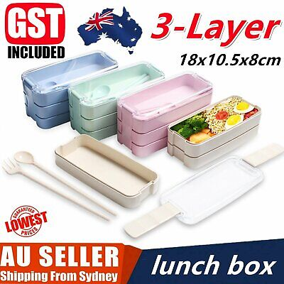 AU21.79 • Buy 900ml 3-Layer Bento Box Students Lunch Box Eco-Friendly Rectangle Food Container