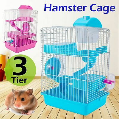 3 Storey Hamster Cage Pet Mice Rat Gerbil Play House -Water Bottle Wheel Ladder • 10.99£
