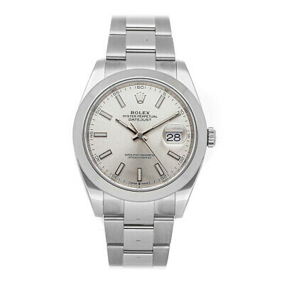 $ CDN8628.88 • Buy Rolex Datejust 41 Steel Auto 41mm Silver Dial Oyster Bracelet Mens Watch 126300
