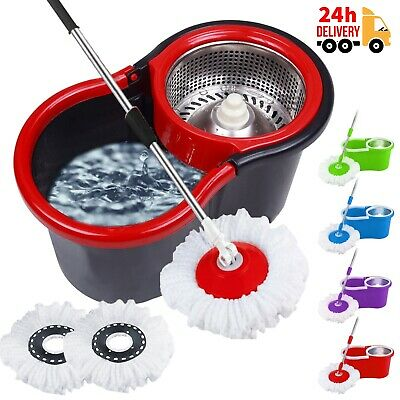 £12.99 • Buy 360° Floor Mop And Bucket Set With 2 Spin Mop Heads Floor Cleaner Home Cleaning