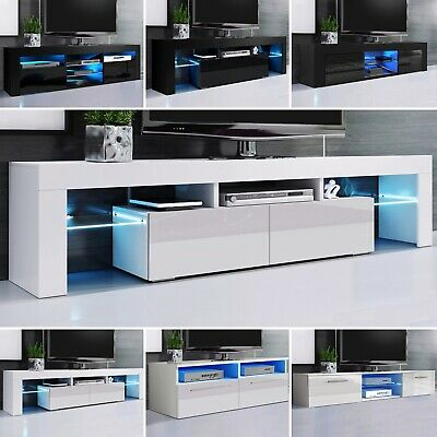 £135.99 • Buy TV Unit Cabinet High Gloss Doors With LED Lights Black/White TV Stand Sideboard