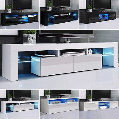 TV Unit Cabinet High Gloss Doors With LED Lights Black/White TV Stand Sideboard • 139.99£