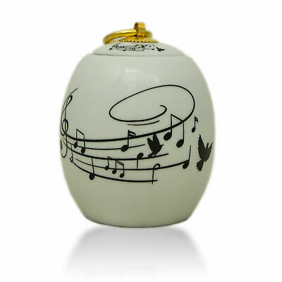 $37.49 • Buy Music Songbird Ceramic Cremation Urn For Ashes - Extra Small  White