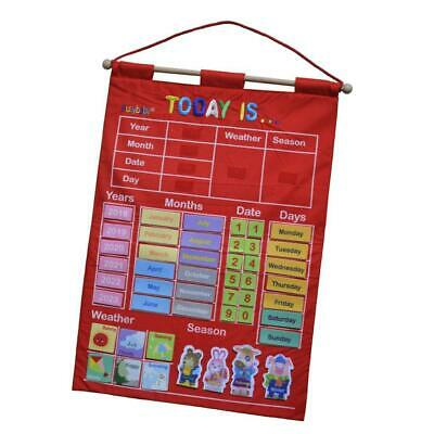 £15.43 • Buy Red My Calendar Fabric Wall Hanging Chart Weather Date Kid Educational Poster