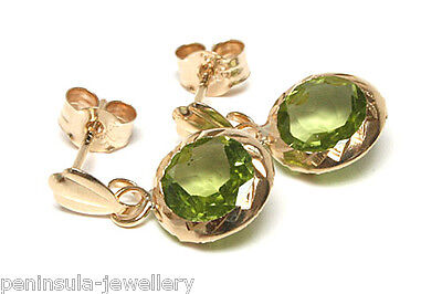 9ct Gold Peridot Drop Earrings 8mm Round Made In UK Gift Boxed Birthday Gift • 43.99£