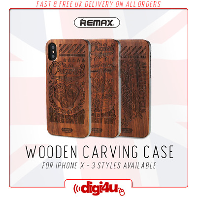 REMAX Hard Wooden Carving Styled Luxury Shockproof Case Cover For IPhone X XS • 5.95£