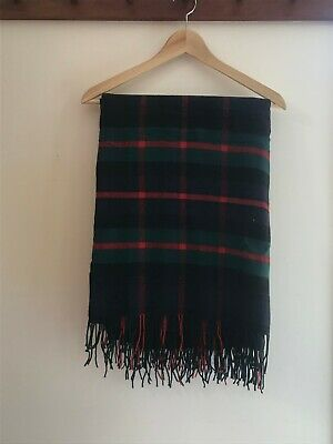 Johnstons Of Elgin Cashmere And Wool Bed Couch Navy And Green Plaid Throw • 275.37£