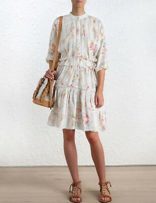 $295 • Buy Zimmermann White Floral Cotton 3/4 Sleeve Belle Slouch Dress AU 2/US 8 $585