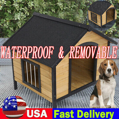 $149.99 • Buy Outdoor Dog House W/ Door Water Resistant Wooden House For Small To Large Pet