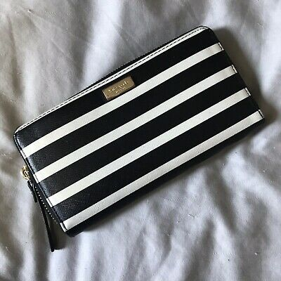 $ CDN46 • Buy Kate Spade Wallet Zip Around Stripe Black White