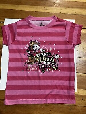 Disney Parks Girls Size Small Minnie Mouse Pirate Bling Is My Thing Pink W Gems • 7.48£