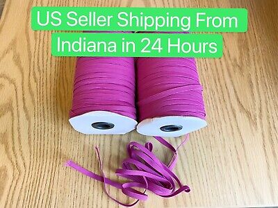 $ CDN13.29 • Buy 10 Yards 1/4 Inch (6mm) Violetred Elastic Band Trim Braided Cord For Crafting