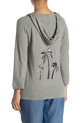 $36.95 • Buy Tommy Bahama Womens XS Gray Joy Sequin Palm Hoodie Sweater Cashmere Wool NWT