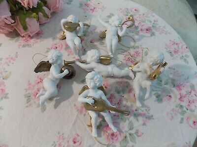 $16.50 • Buy (6)pc. Vintage Collectible Hanging Porcelain Musical Cherubs Christmas Ornaments