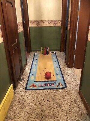 $14.99 • Buy Bowling Game With Pins Ball & Bowling Alley Rug