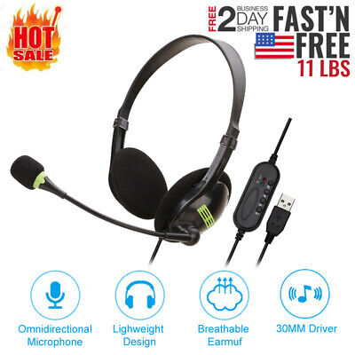 $ CDN16.28 • Buy USB Headset With Microphone Noise Cancelling Computer PC Headset Lightweight