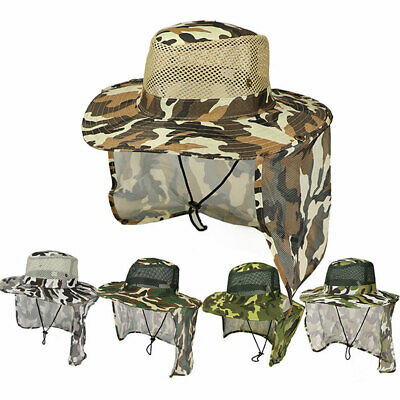 $9.31 • Buy Fishing Hiking Outdoor Face Sun Protection Neck Cover Wide Brim Flap Cap Hat USA