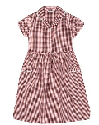 M&s Girls Age 8-9 13-14 Years Red Gingham Checked School Summer Dress  • 6.49£