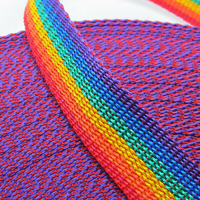RAINBOW Striped Polypylene Webbing / Strap - Width Choice - Ideal For Bag Making • 2.85£