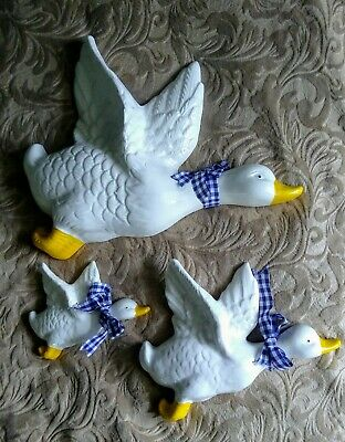 Vintage 3 White Flying Duck Ceramic Wall Mount Decorative • 13.67£