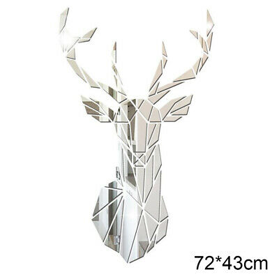 3D DIY Deer Mirror Wall Stickers Self Adhesive Big Decorative Mirror Home Decor • 9.98£