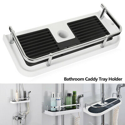 AU20.95 • Buy Bathroom Pole Shelf Shower Tray Holder Storage Caddy Rack Organiser Bath Home