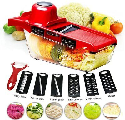 11 In 1 Mandolin Vegetable Food Slicer Julienne And Container - Peel Cut Slice • 8.99£