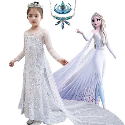 AU10.49 • Buy 2019 New Release Girls Frozen 2 Elsa Costume Party Birthday White Dress 2-10 Yrs