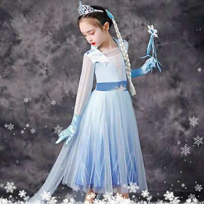 AU25.95 • Buy 2019 New Release Girls Frozen 2 Elsa Costume Party Birthday Dress Size 2-10Yrs