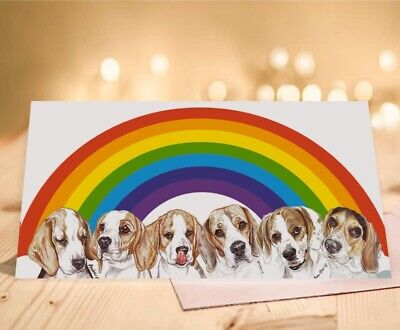 Single Luxury Long Beagle Rainbow Birthday Card Gift/Present Dog • 2.85£