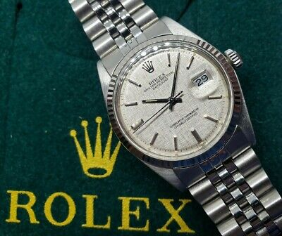 $ CDN4500 • Buy Rolex 36mm Datejust 1603 - White Gold Bezel (1601) - Linen Dial (Serviced!)