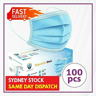 AU19 • Buy 100Pc Disposable Face Mask Protective Masks 3 Layer Meltblown Filter General Use