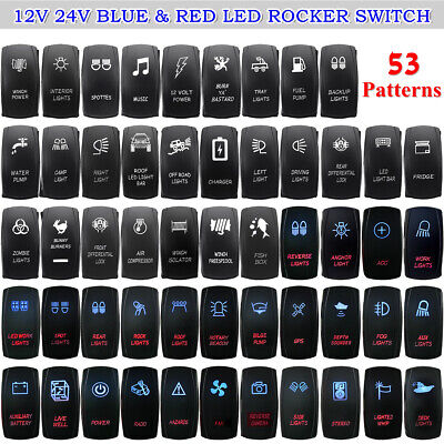 Boat Car Marine Dash Rocker Switch Blue Red Dual ILLUMINATED LED ON-OFF Light  • 8.14£