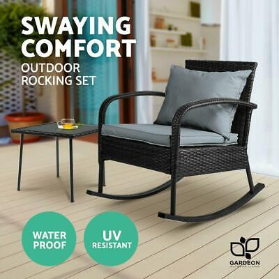 AU180.83 • Buy Gardeon Wicker Rocking Chairs Table Set Outdoor Setting Recliner Patio Furniture