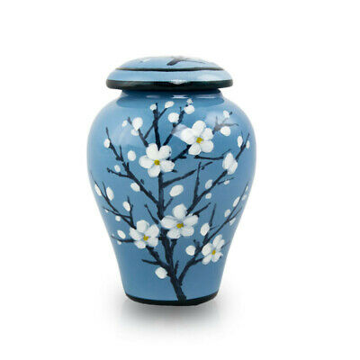 $39.95 • Buy Plum Blossom Ceramic Cremation Urn For Ashes - Extra Small  Blue