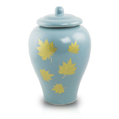 $49.95 • Buy Golden Leaves Ceramic Cremation Urn For Ashes - Large  Blue