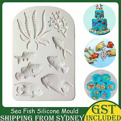 AU7.39 • Buy Sea Fish Coral Silicone Fondant Cake Decorating Mold Sugarcraft Icing Mould Tool
