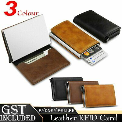 AU9.49 • Buy PU Leather Credit Card Holder Men's Money Cash Wallet Clip RFID Blocking Purse