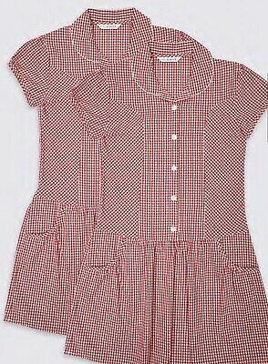 M&s Girls 2 Pack Age 13-14 Years Red Gingham Checked School Summer Dress  • 8.99£