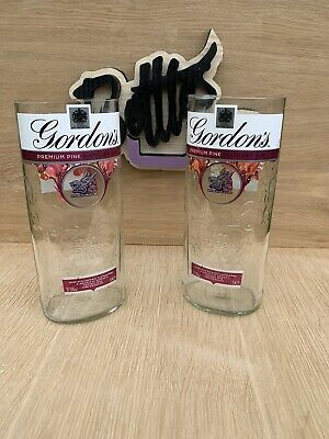 RECYCLED GORDONS 1L Pink GIN BOTTLE DRINKING GLASS - 100% RECYCLED - UNIQUE GIFT • 9£