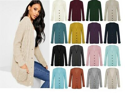 £10.99 • Buy Womens Ladies Chunky Cable Knit Cardigan Button Long Sleeves Grandad Plus Sizes