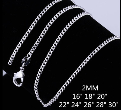 AU2.95 • Buy Women 925 Sterling Silver Filled 2mm Classic Chain Necklace For Pendants