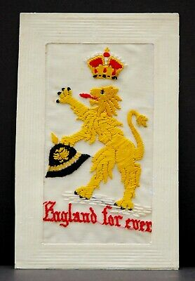 WW1 Embroidered Silk Postcard British Lion German Pickelhaube Helmet • 39.99£