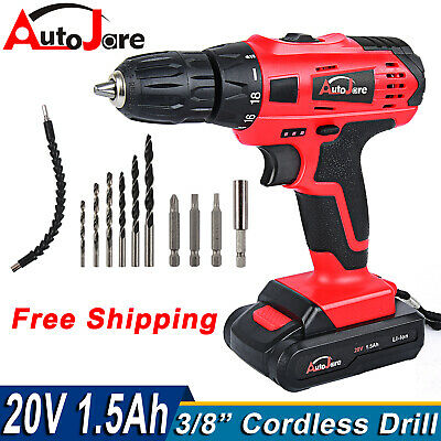 View Details New 3/8'' Electric Cordless Drill Driver Tool+li-ion Battery High Torque 20Vmax • 35.90$