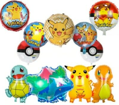 Pokemon Pikachu Charmander Squirtle Helium Birthday Balloons Large Age Number • 3.49£